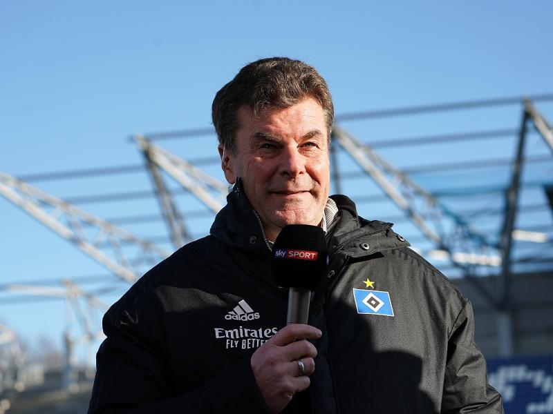 Der Hamburger Trainer Dieter Hecking im Fernsehinterview. Foto: Hasan Bratic/Archivbild                                 Hasan Bratic